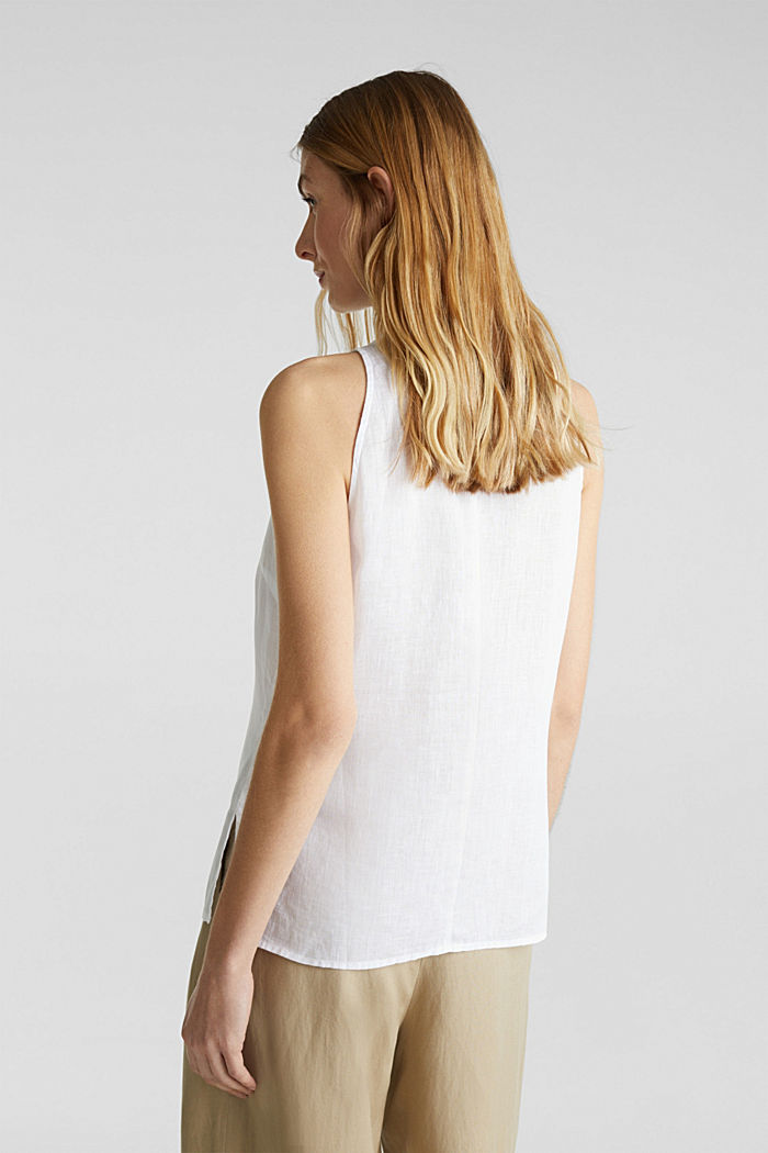 Linen blouse top with a collar, WHITE, detail image number 3