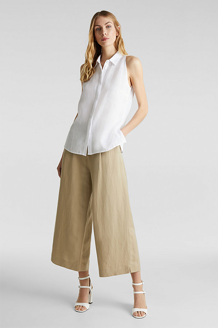 Linen blouse top with a collar, WHITE, detail image number 1
