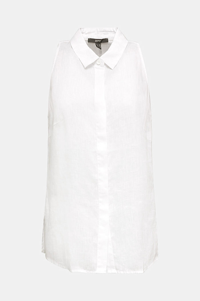 Linen blouse top with a collar, WHITE, detail image number 6