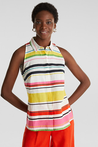 Colourful blouse top made of blended linen