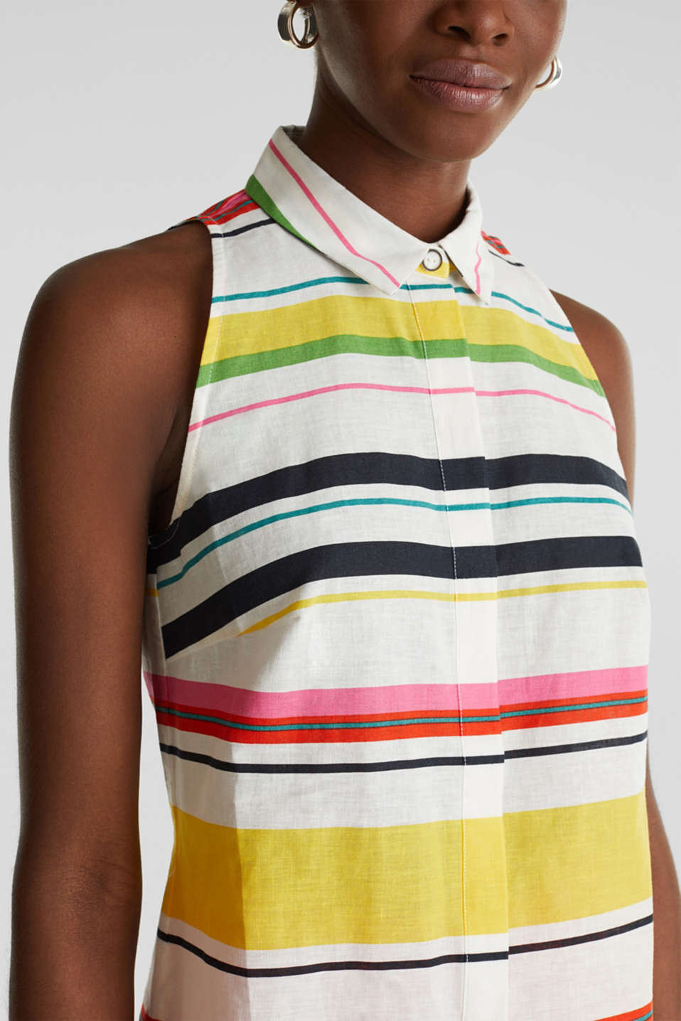 Colourful blouse top made of blended linen, WHITE 3, detail image number 2