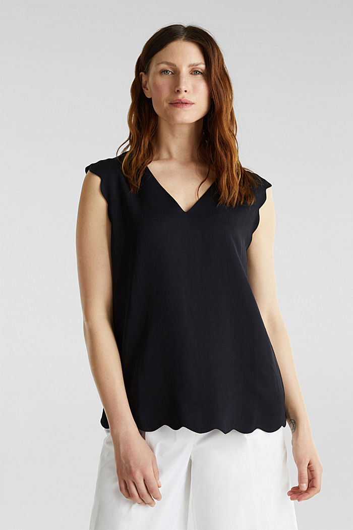 Blended linen: Woven top with scalloped edges, BLACK, overview