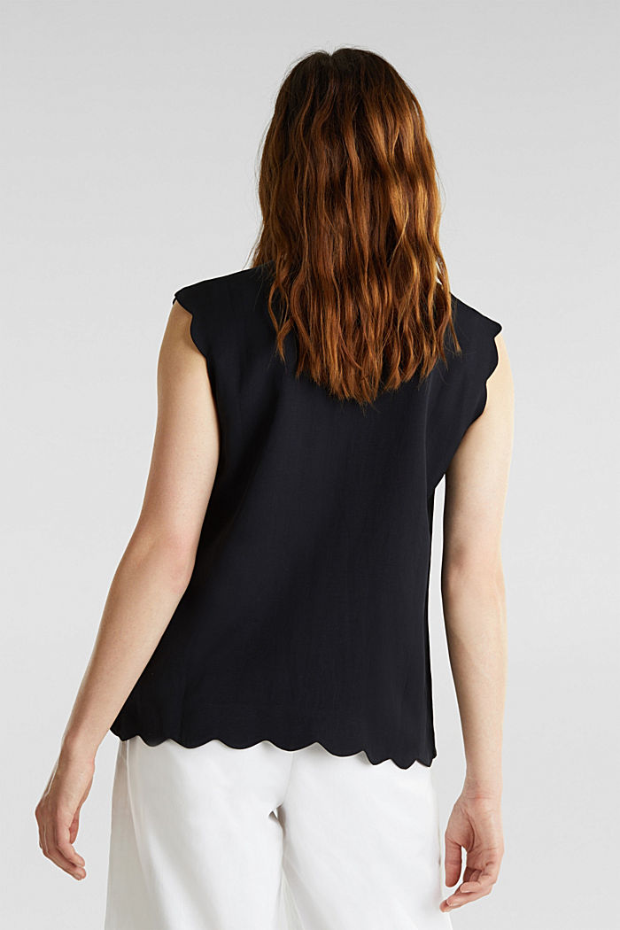 Blended linen: Woven top with scalloped edges, BLACK, detail image number 3