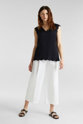 Blended linen: Woven top with scalloped edges, BLACK, detail
