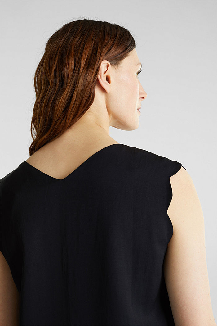 Blended linen: Woven top with scalloped edges, BLACK, detail image number 2