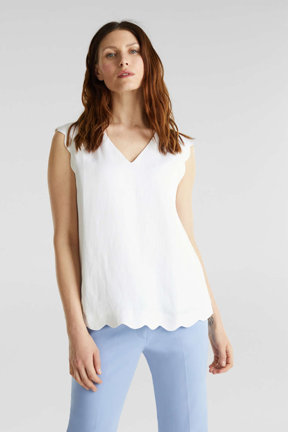 Blended linen: Woven top with scalloped edges, WHITE, detail image number 0