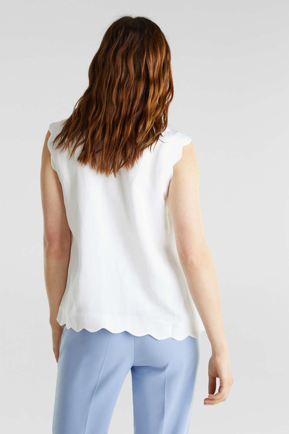 Blended linen: Woven top with scalloped edges, WHITE, detail image number 3