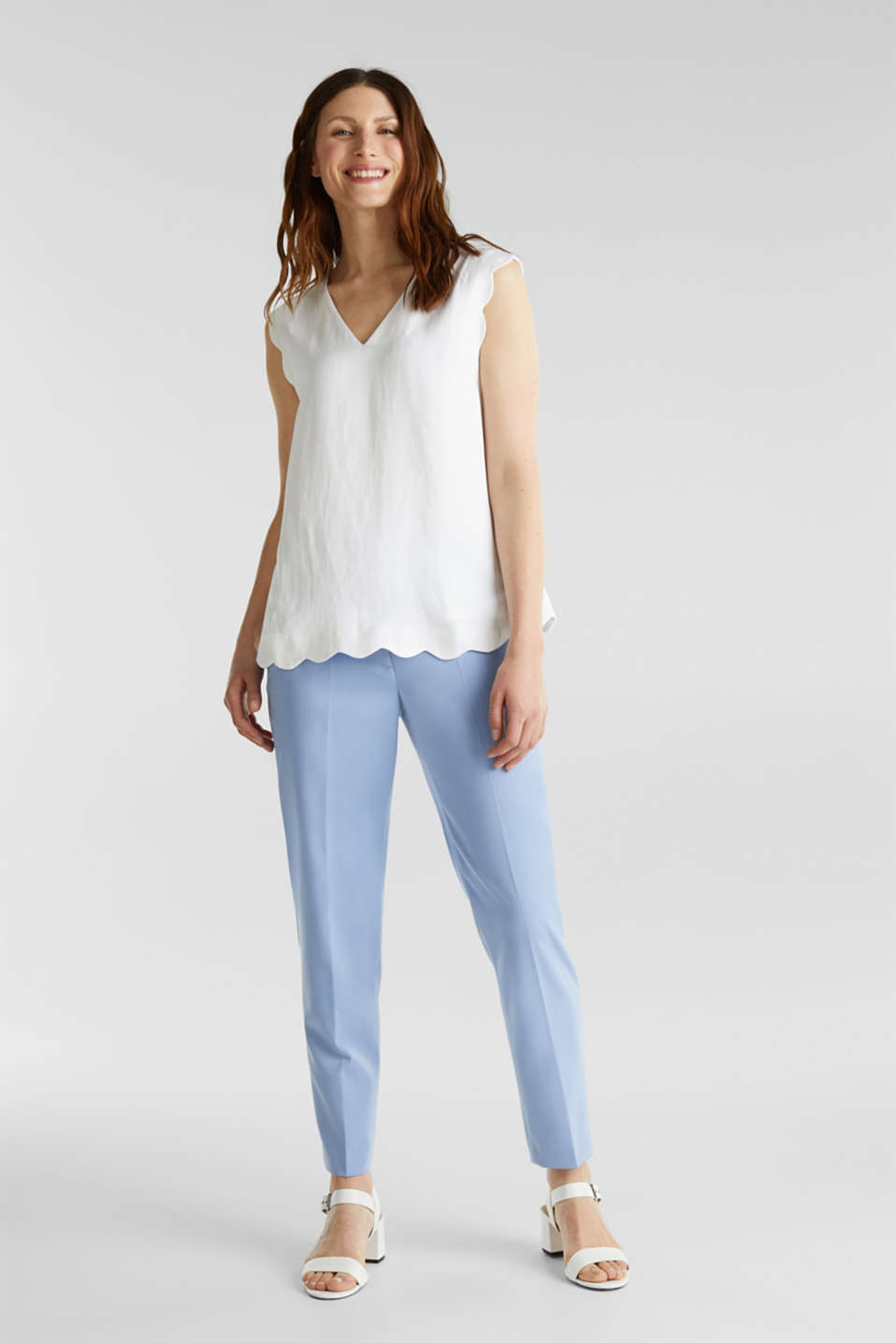 Blended linen: Woven top with scalloped edges, WHITE, detail image number 6