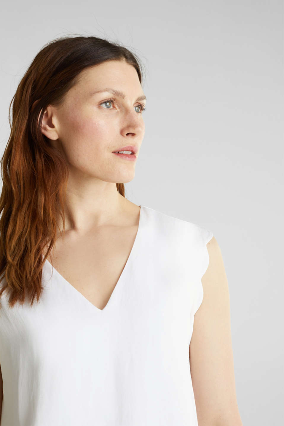 Blended linen: Woven top with scalloped edges, WHITE, detail image number 2