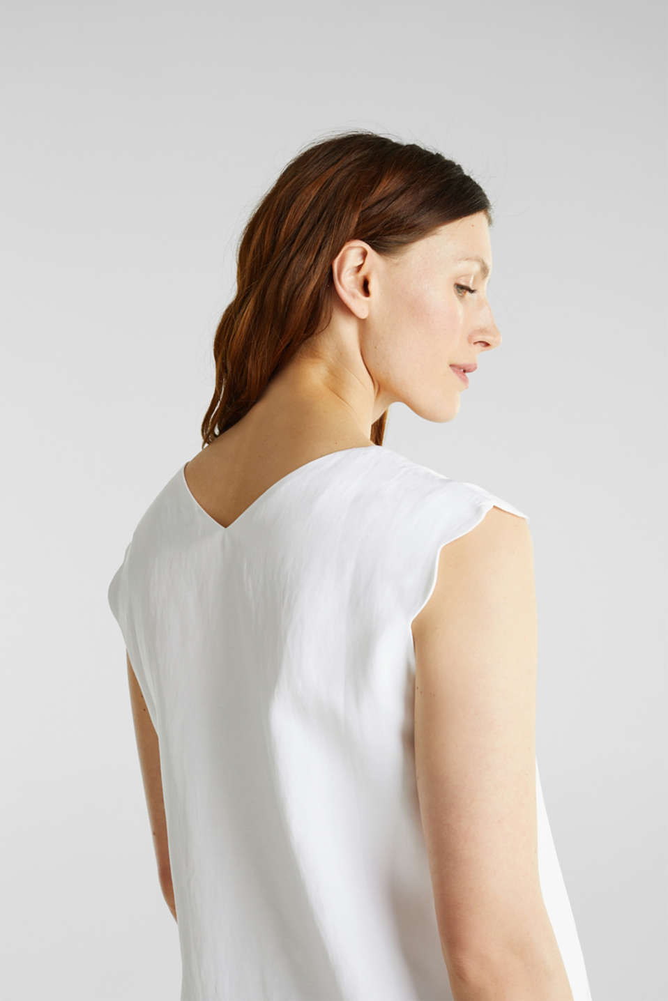 Blended linen: Woven top with scalloped edges, WHITE, detail image number 5