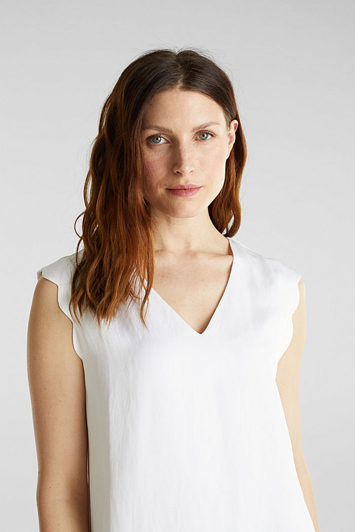Blended linen: Woven top with scalloped edges, WHITE, detail image number 7