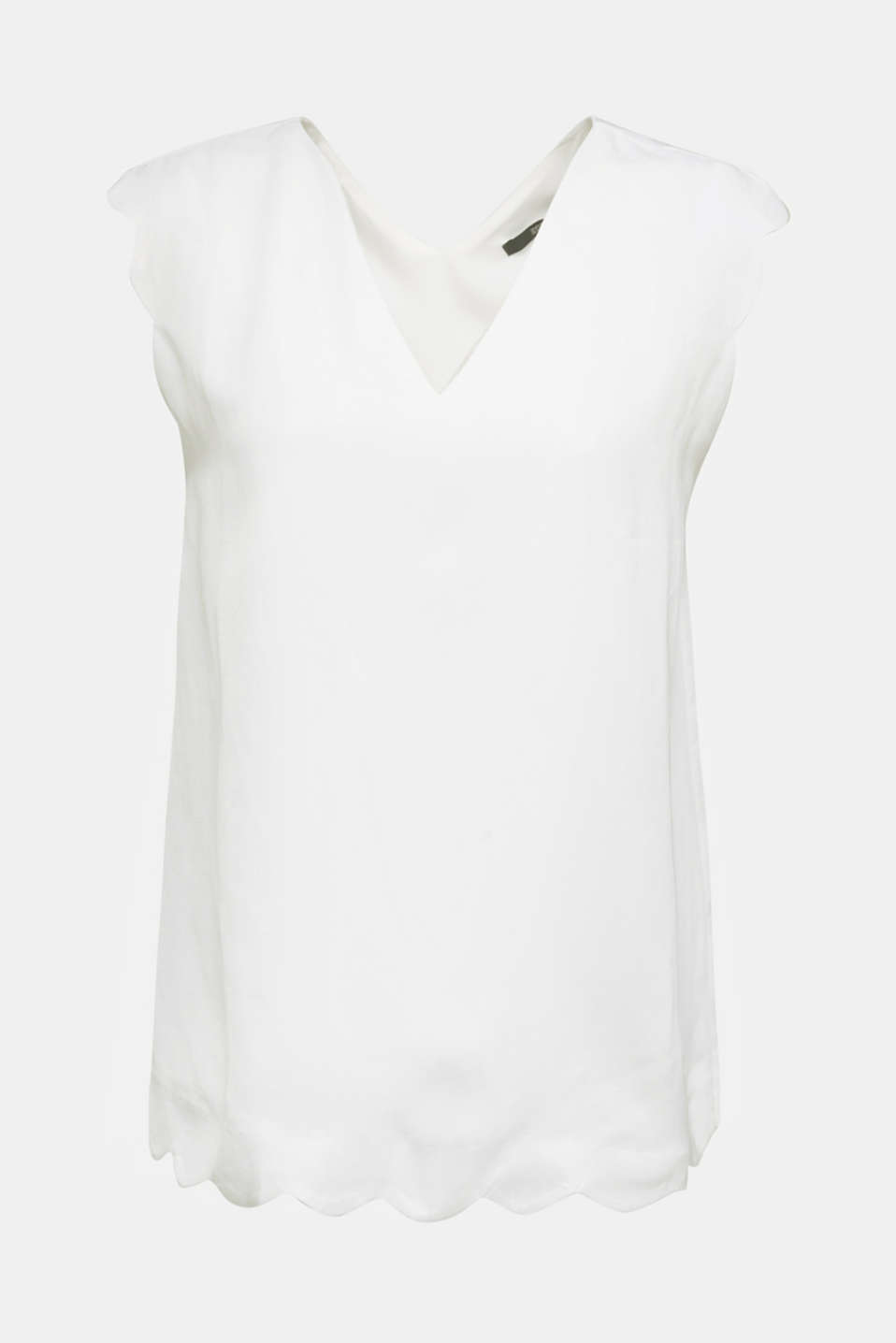 Blended linen: Woven top with scalloped edges, WHITE, detail image number 8