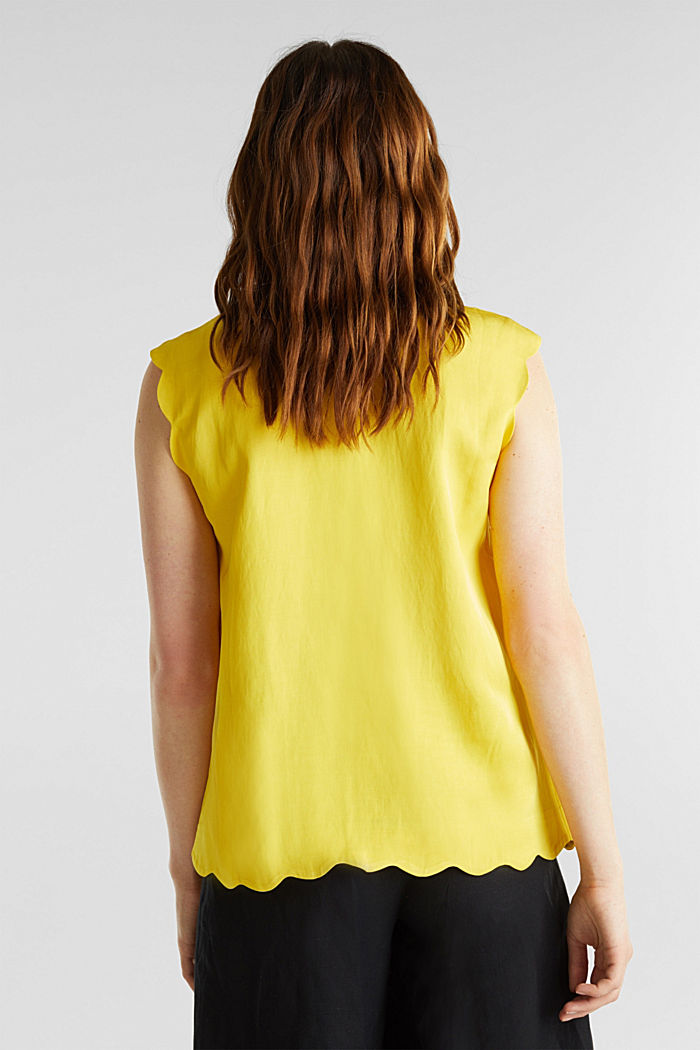 Blended linen: Woven top with scalloped edges, YELLOW, detail image number 3