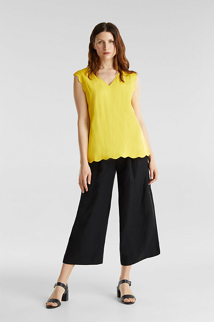 Blended linen: Woven top with scalloped edges, YELLOW, detail image number 1