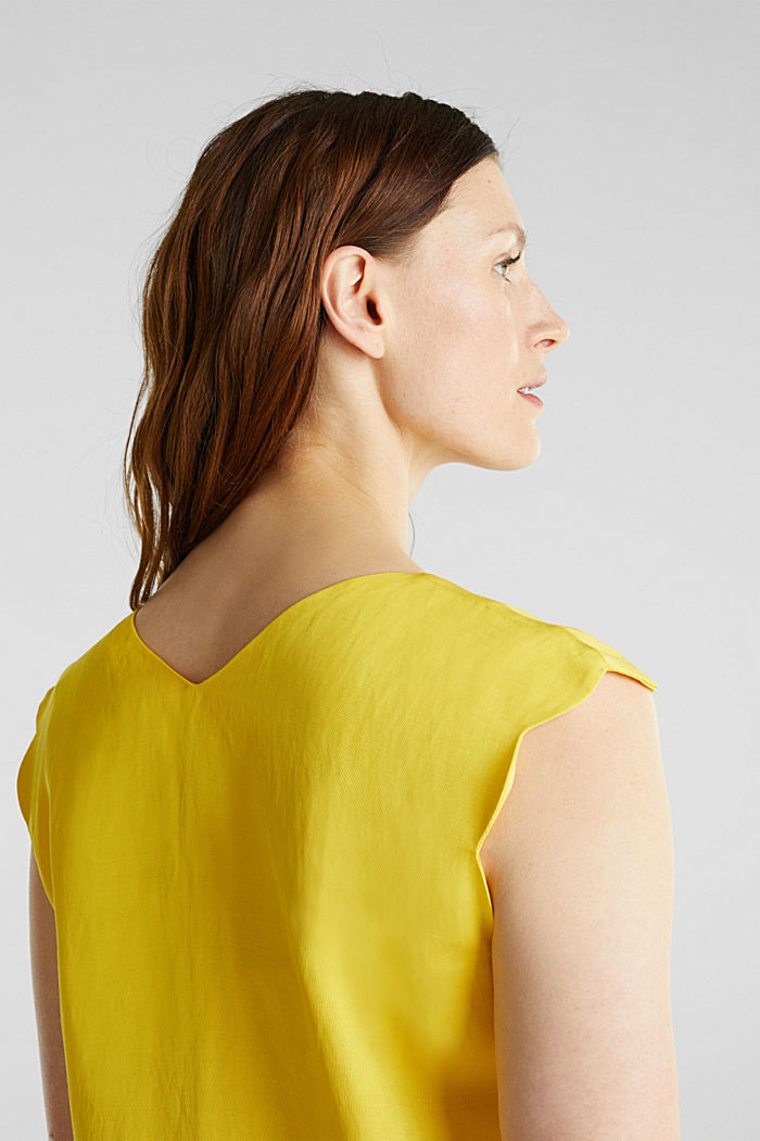 Blended linen: Woven top with scalloped edges, YELLOW, detail image number 2