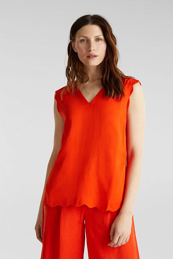 Blended linen: Woven top with scalloped edges, RED ORANGE, detail image number 0