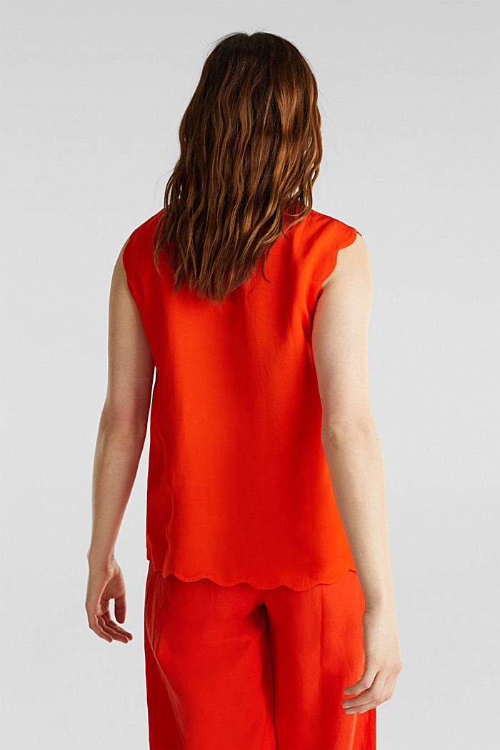Blended linen: Woven top with scalloped edges, RED ORANGE, detail image number 3