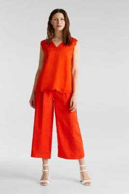Blended linen: Woven top with scalloped edges, RED ORANGE, detail