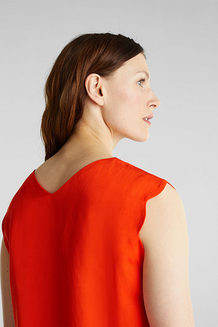 Blended linen: Woven top with scalloped edges, RED ORANGE, detail image number 2