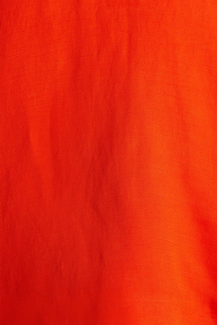 Blended linen: Woven top with scalloped edges, RED ORANGE, detail image number 4