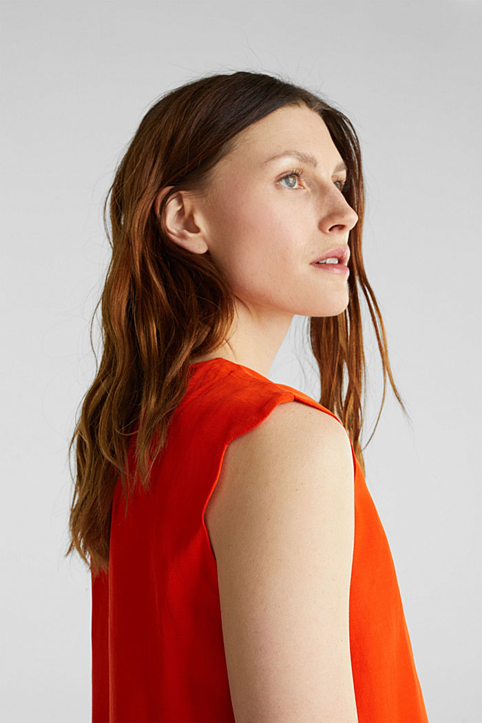 Blended linen: Woven top with scalloped edges, RED ORANGE, detail image number 5