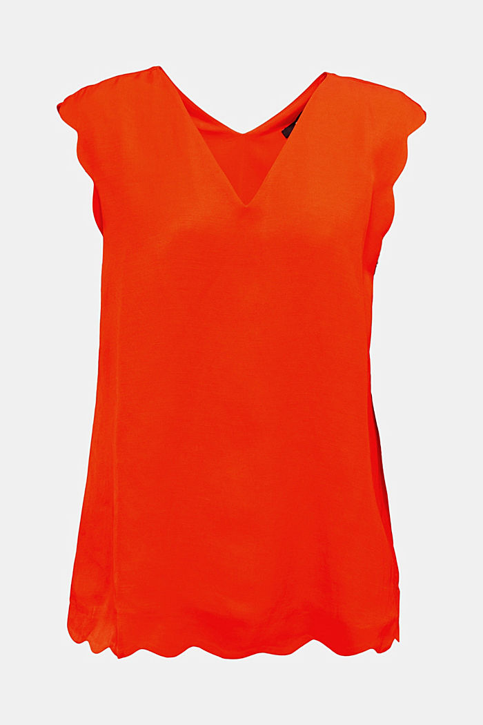 Blended linen: Woven top with scalloped edges, RED ORANGE, detail image number 6