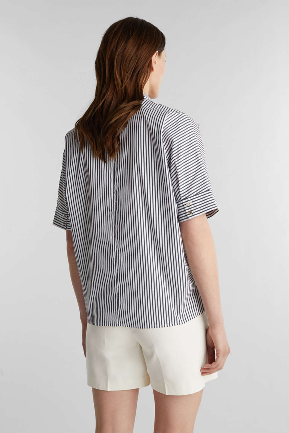 Striped slip-on blouse in a boxy fit, BLACK 2, detail image number 3