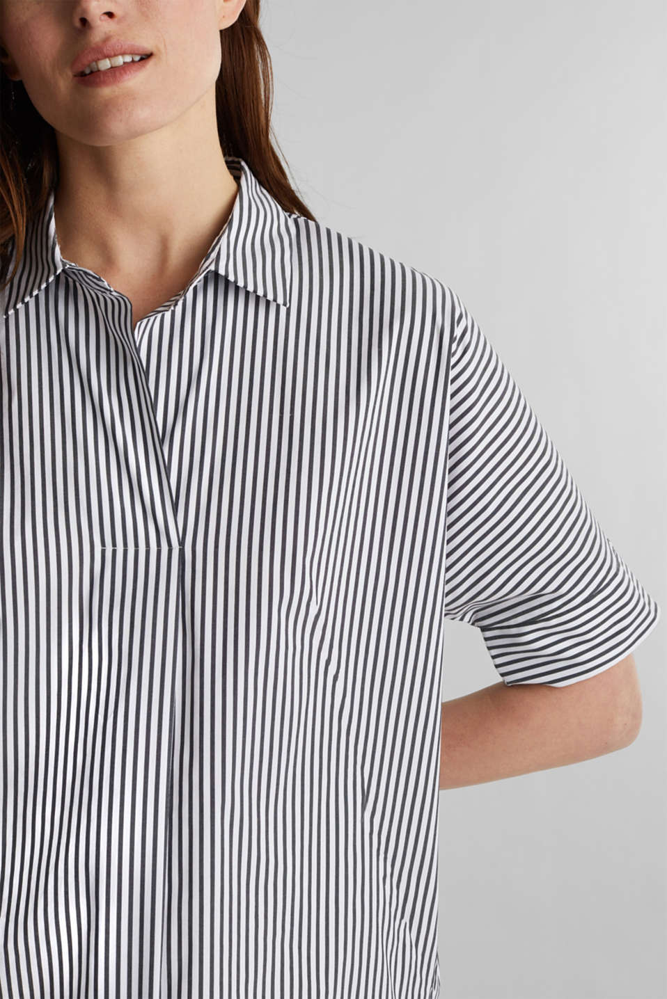 Striped slip-on blouse in a boxy fit, BLACK 2, detail image number 2