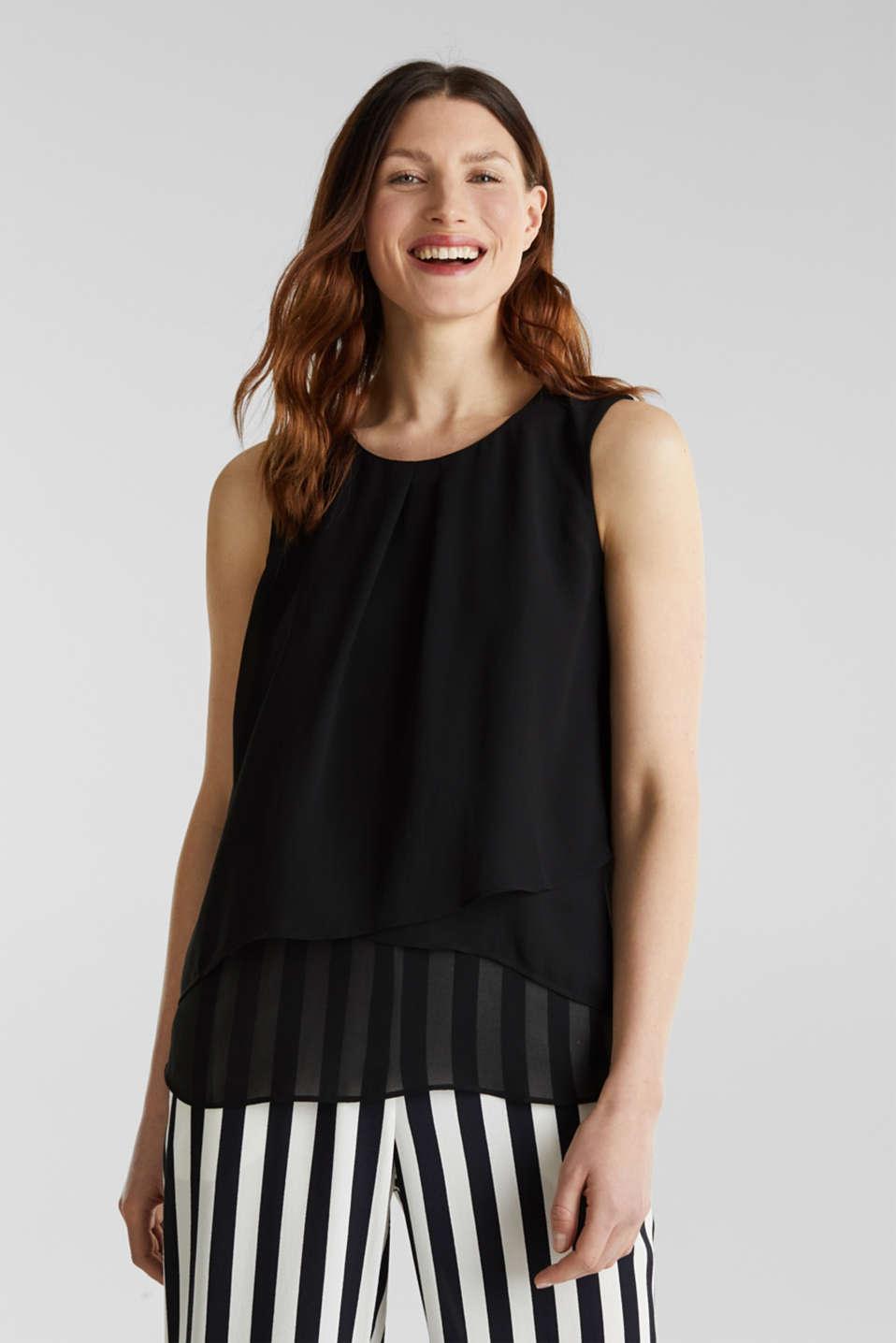 Layered blouse top made of crêpe chiffon, BLACK, detail image number 0
