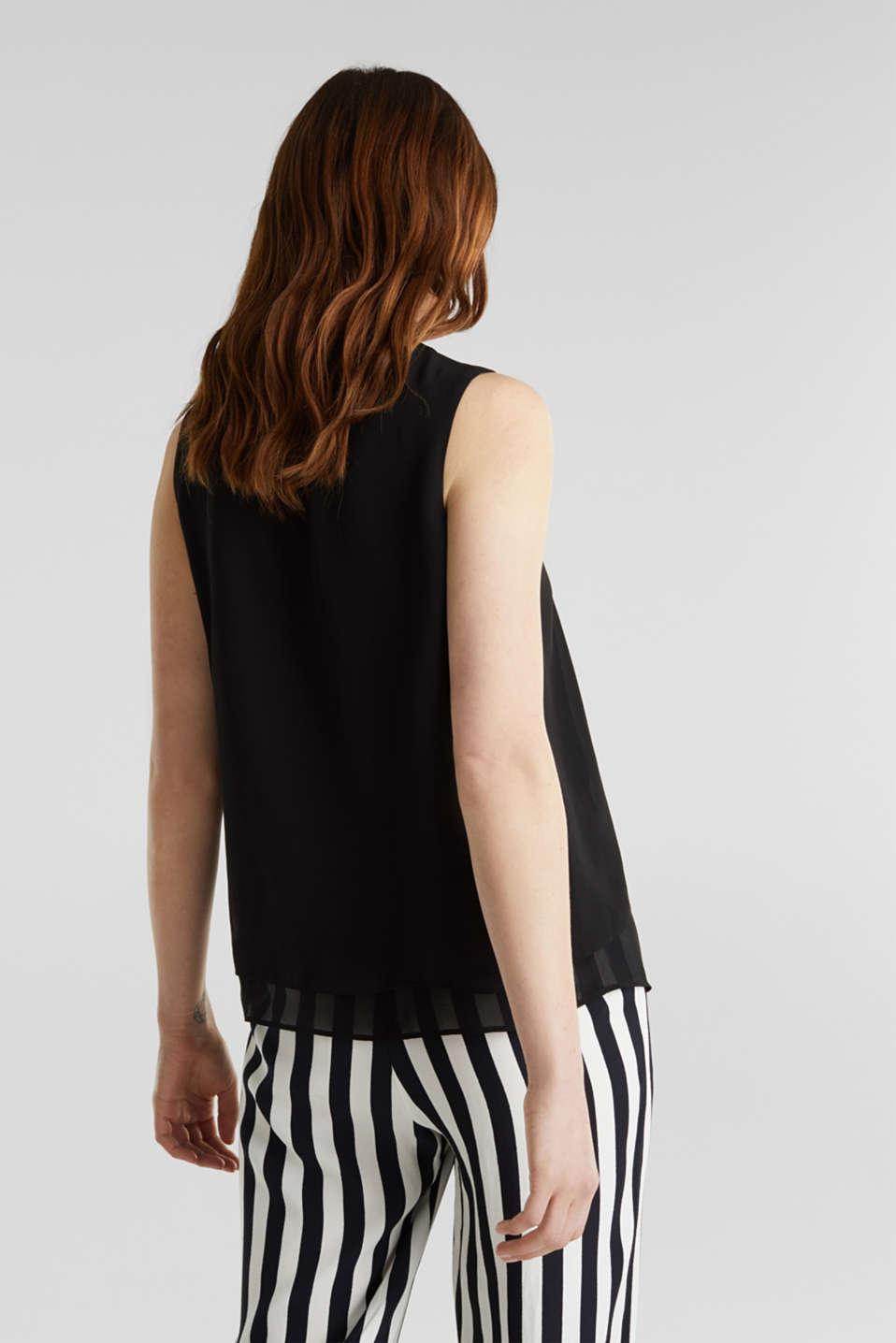 Layered blouse top made of crêpe chiffon, BLACK, detail image number 3