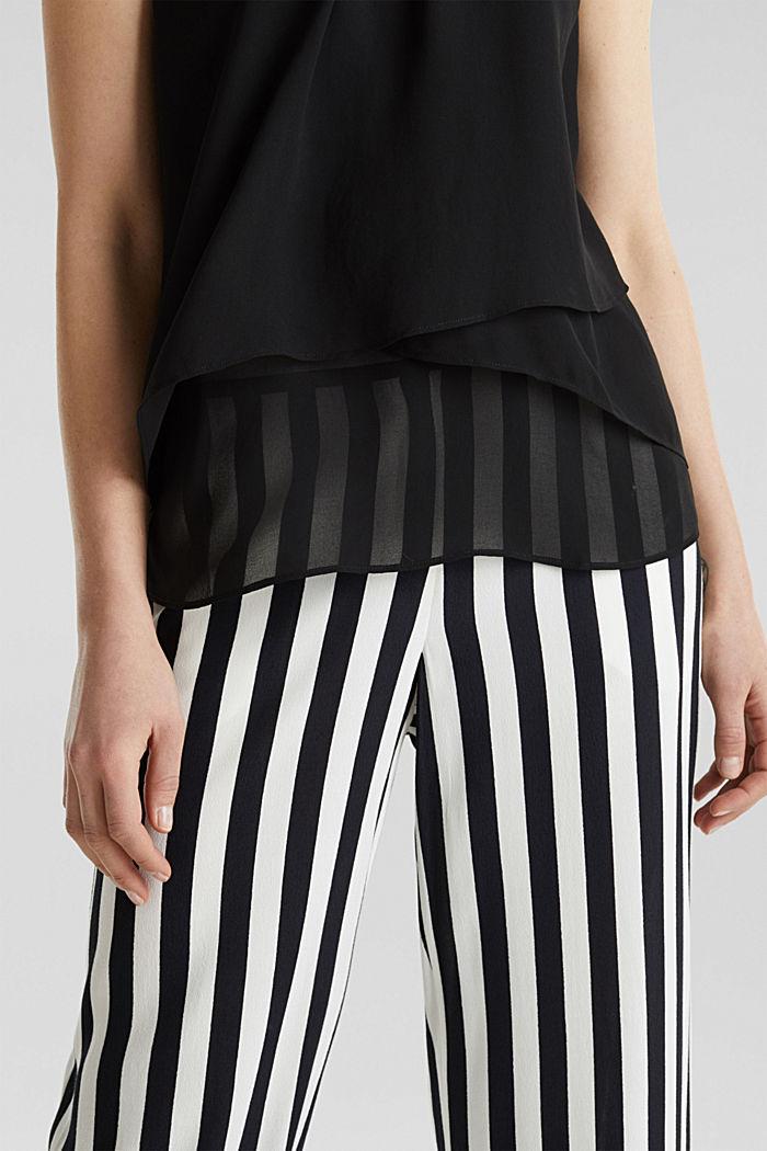 Layered blouse top made of crêpe chiffon, BLACK, detail image number 2