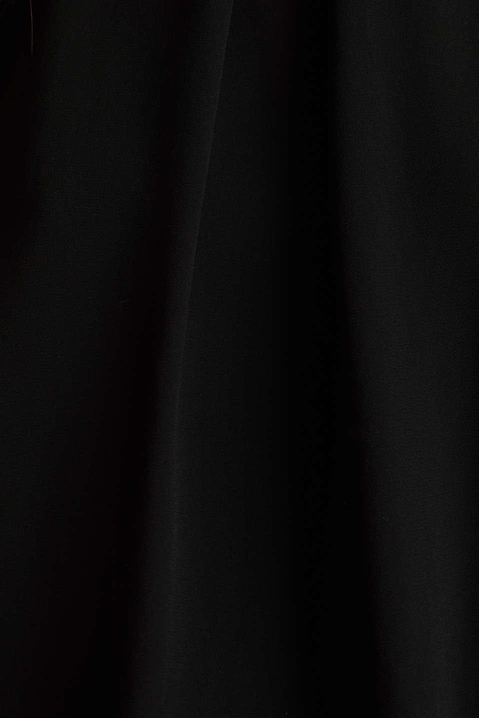 Layered blouse top made of crêpe chiffon, BLACK, detail image number 4