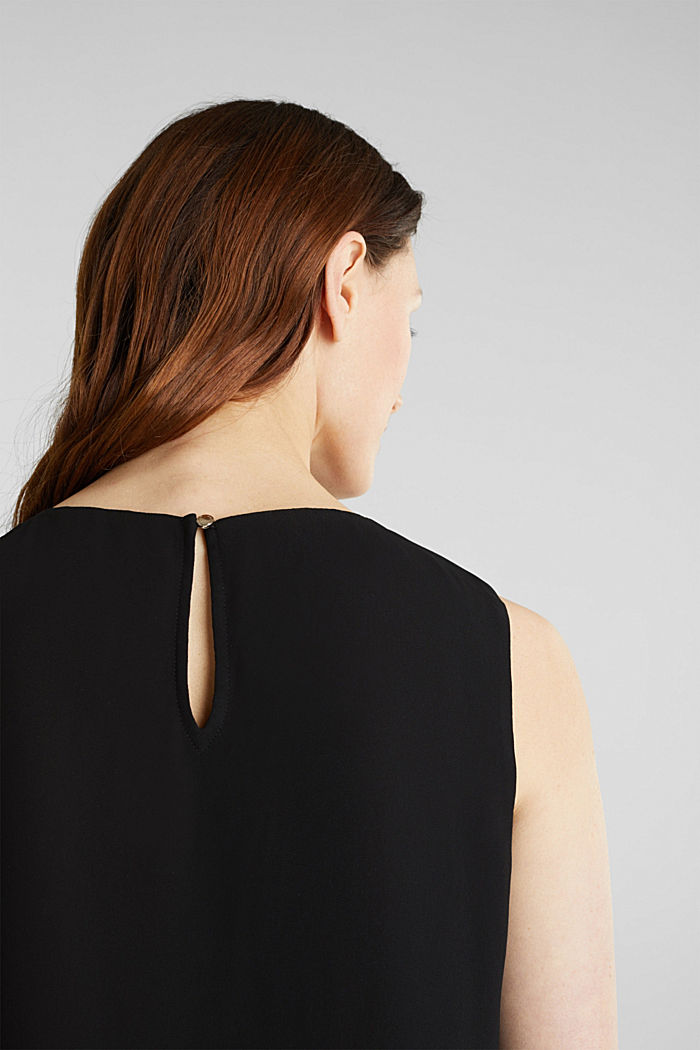 Layered blouse top made of crêpe chiffon, BLACK, detail image number 5