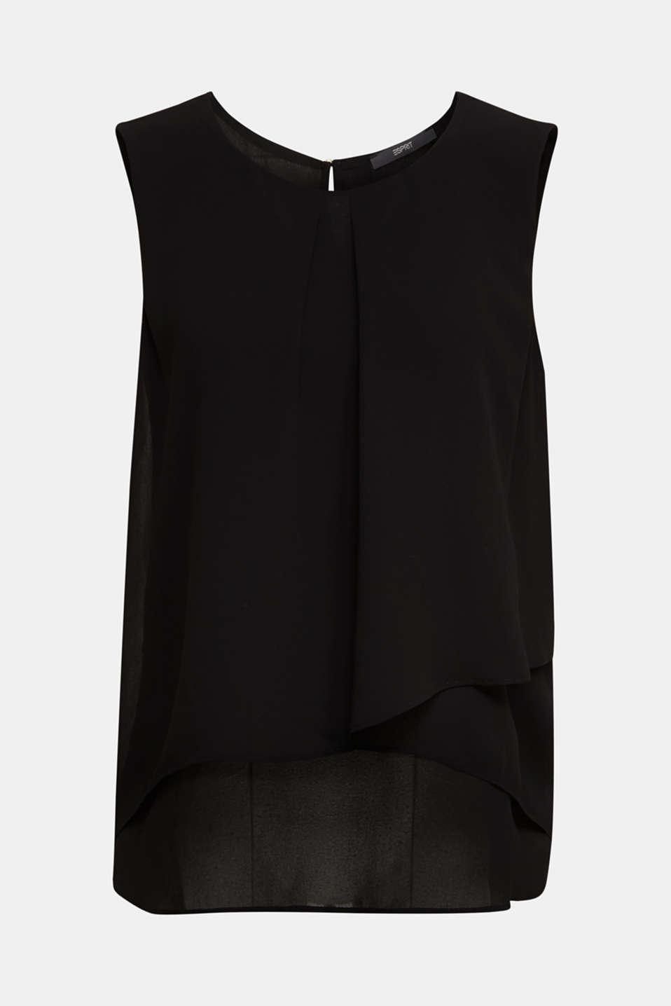 Layered blouse top made of crêpe chiffon, BLACK, detail image number 6