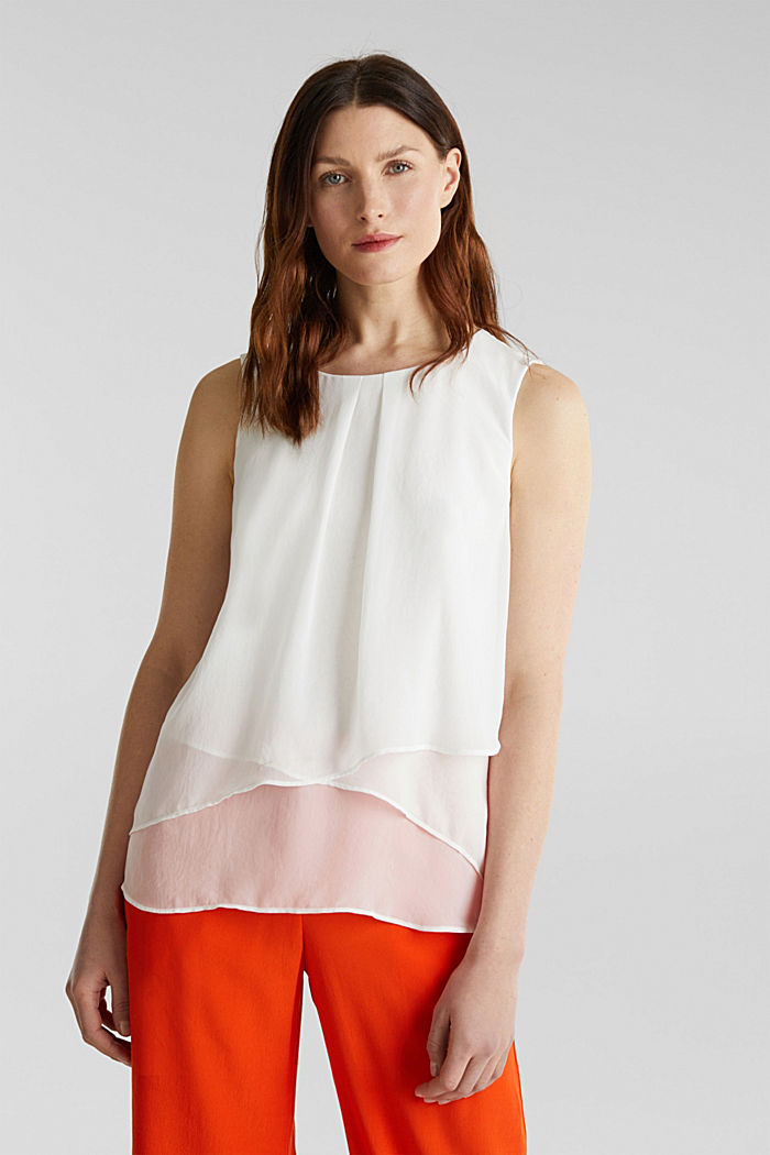 Layered blouse top made of crêpe chiffon