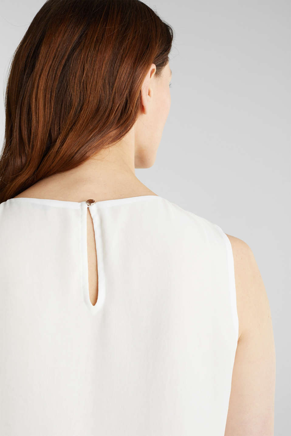 Layered blouse top made of crêpe chiffon, OFF WHITE, detail image number 5