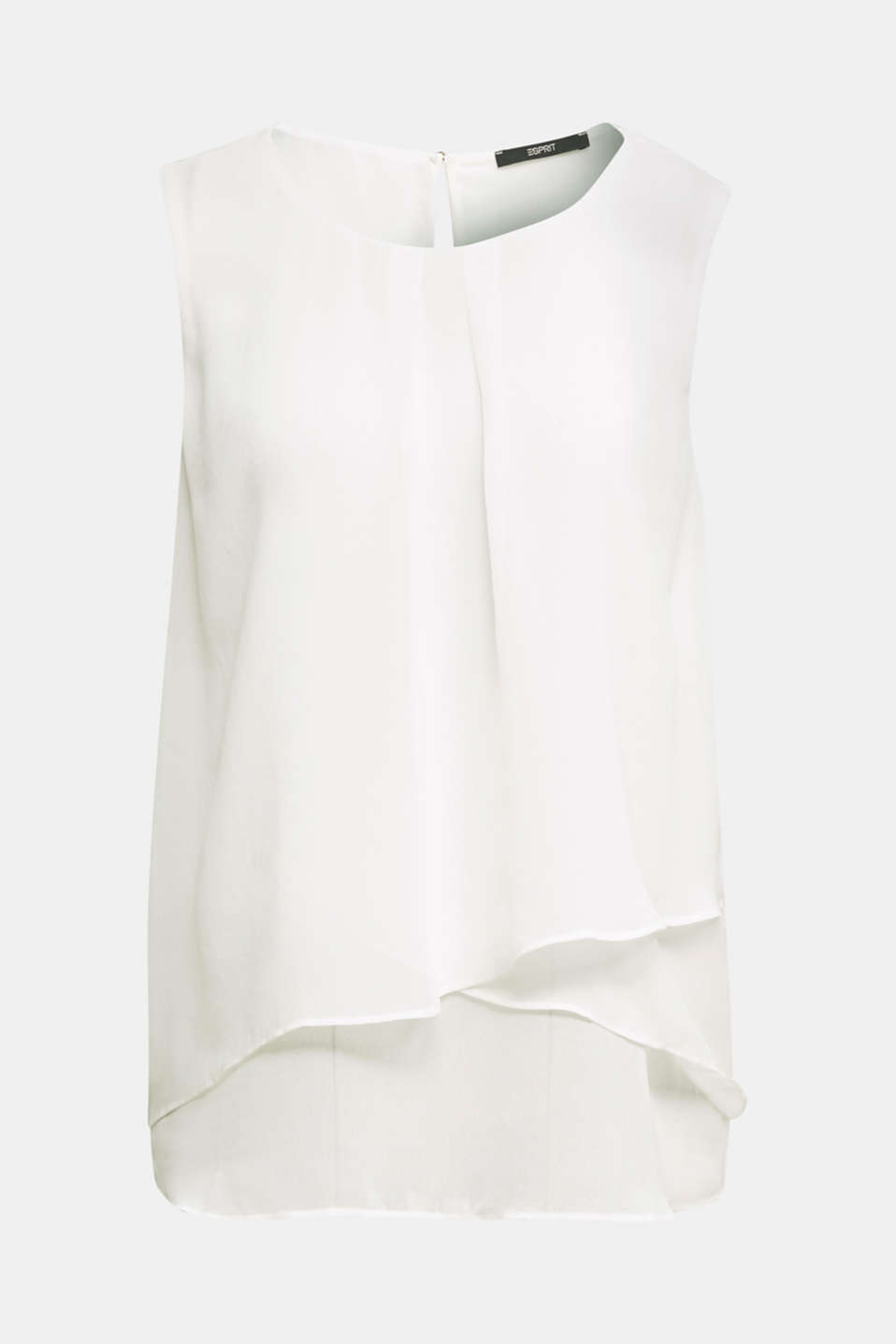 Layered blouse top made of crêpe chiffon, OFF WHITE, detail image number 7