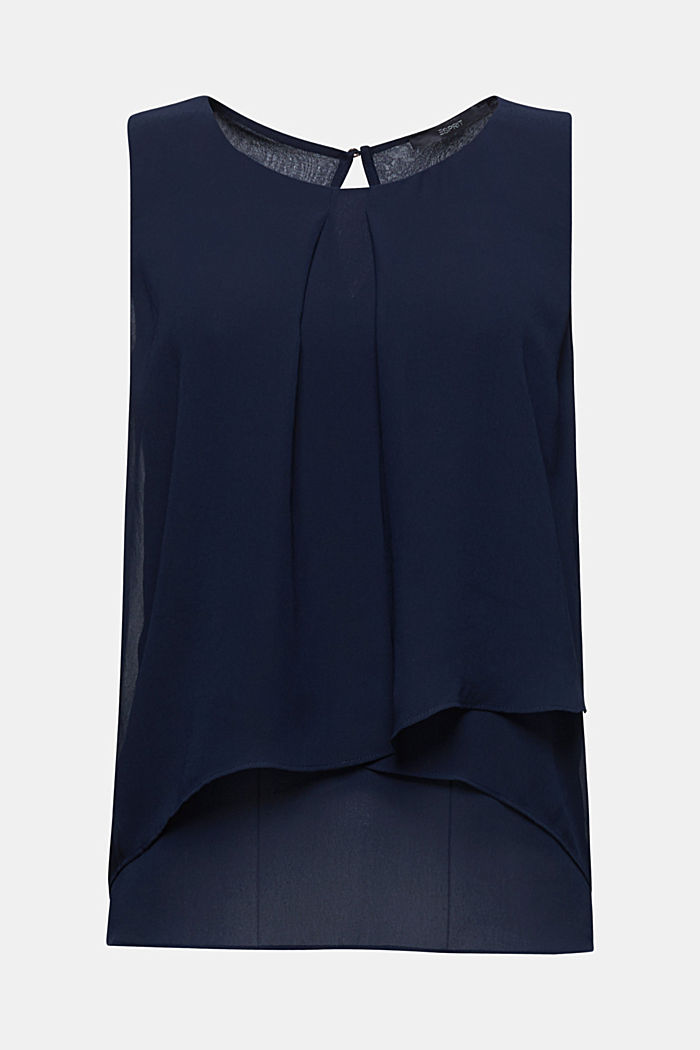 Layered blouse top made of crêpe chiffon, NAVY, detail image number 6
