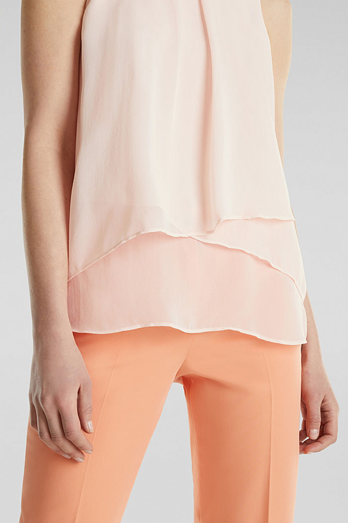 Layered blouse top made of crêpe chiffon, PASTEL PINK, detail image number 2