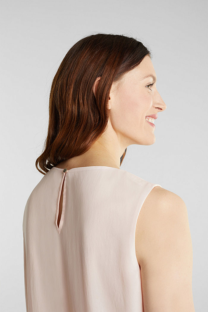Layered blouse top made of crêpe chiffon, PASTEL PINK, detail image number 5