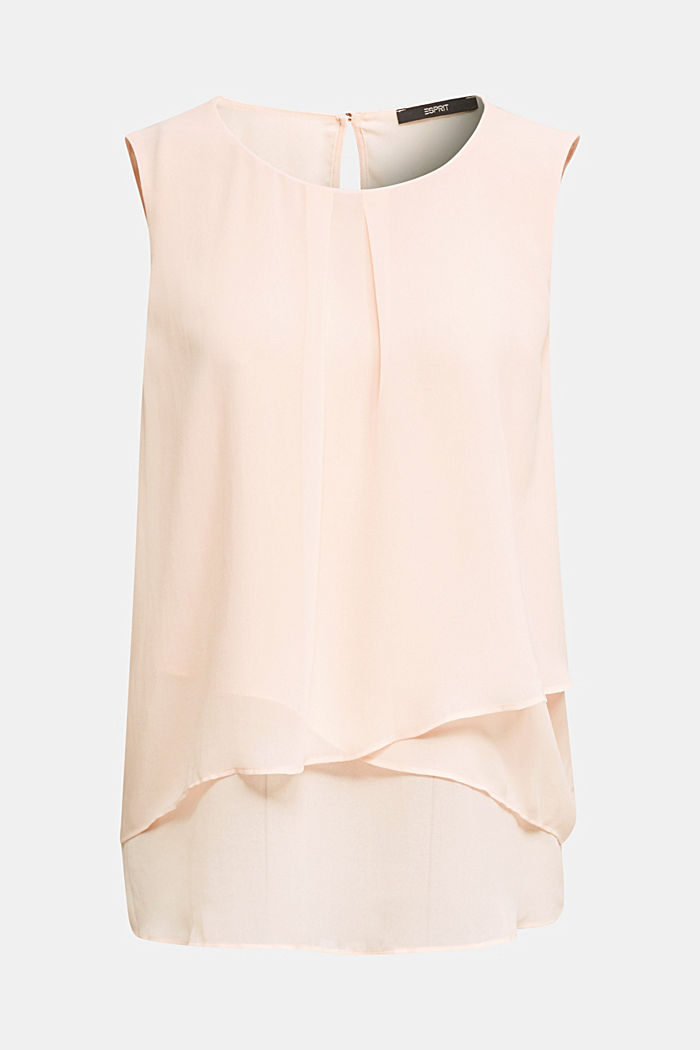 Layered blouse top made of crêpe chiffon, PASTEL PINK, detail image number 7