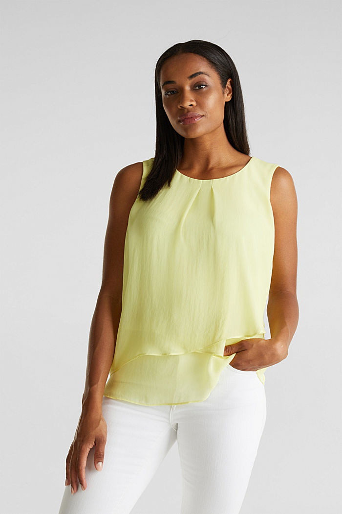 Layered blouse top made of crêpe chiffon, LIME YELLOW, detail image number 0