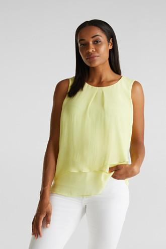 Layered blouse top made of crêpe chiffon