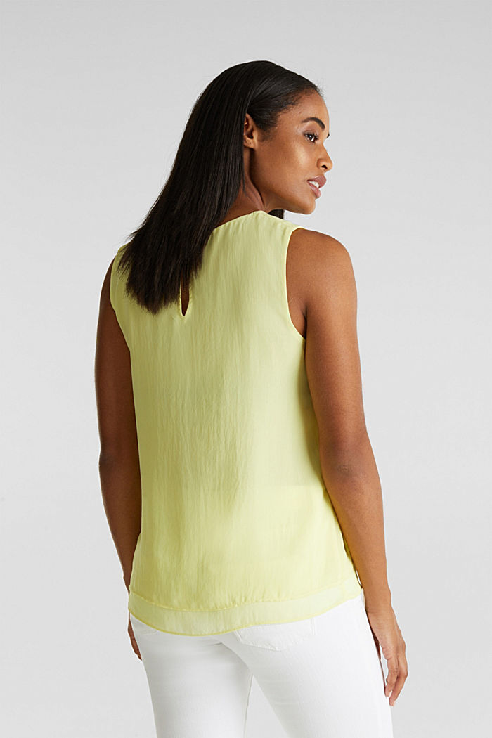 Layered blouse top made of crêpe chiffon, LIME YELLOW, detail image number 3