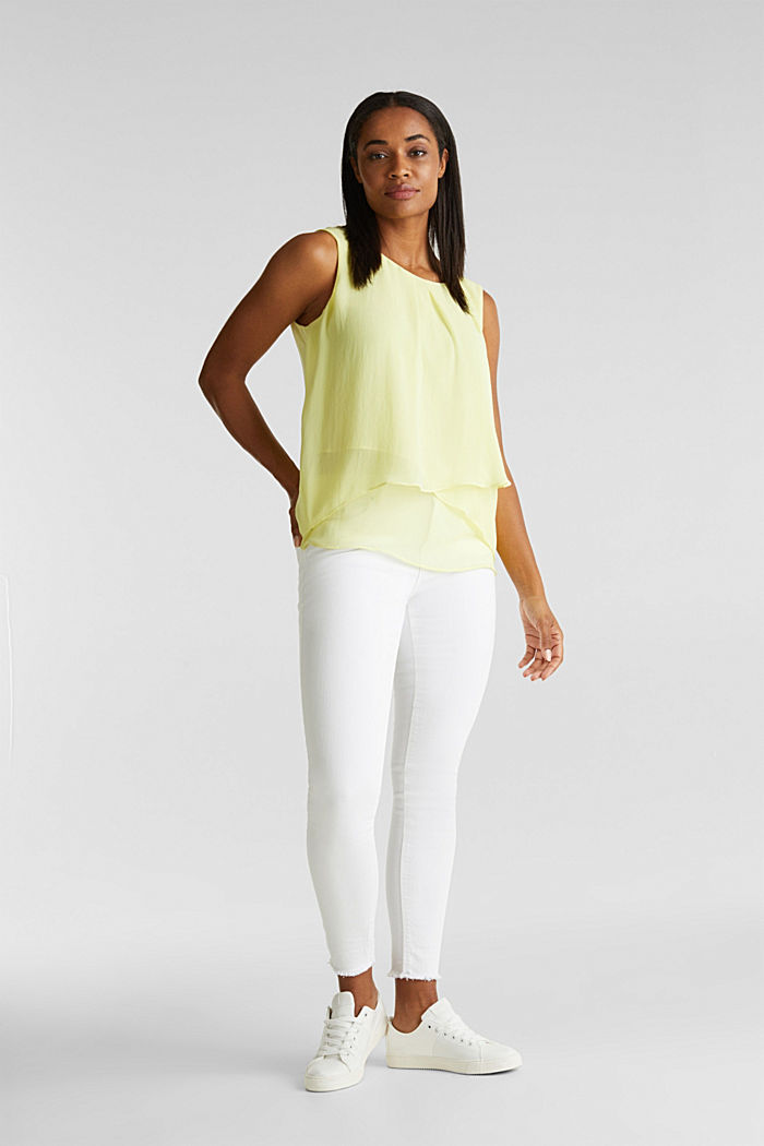 Layered blouse top made of crêpe chiffon, LIME YELLOW, detail image number 1