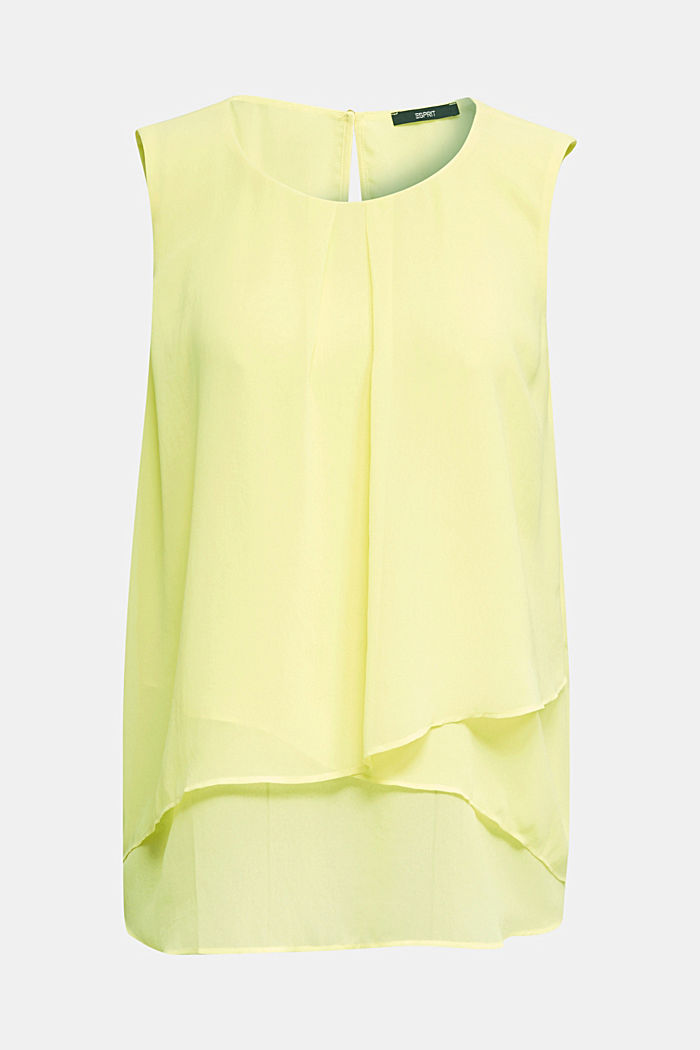 Layered blouse top made of crêpe chiffon, LIME YELLOW, detail image number 5