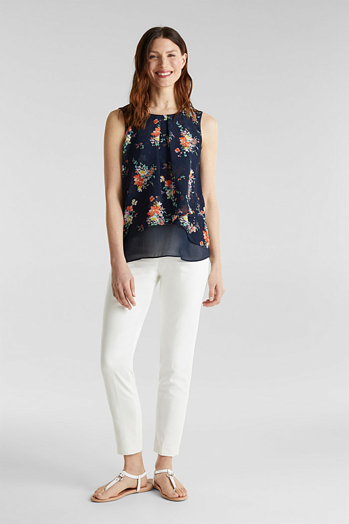 Layered blouse top made of crêpe chiffon, NAVY, detail image number 1