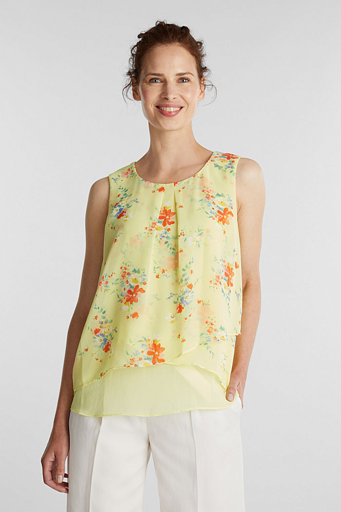 Layer-Blusentop aus Crêpe-Chiffon, LIME YELLOW, detail image number 0