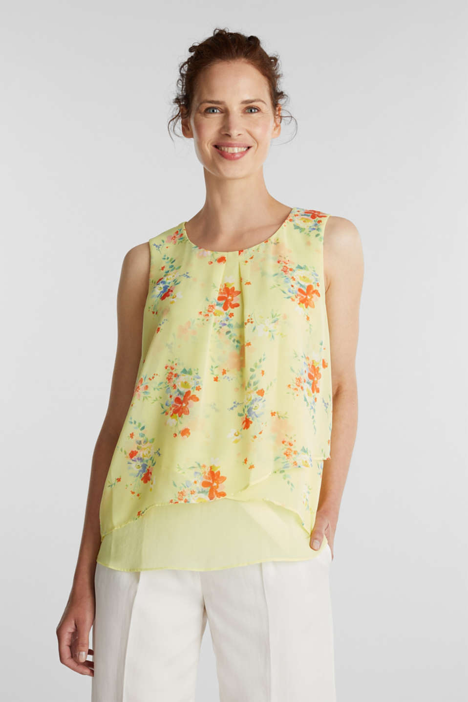 Esprit - Layered blouse top made of crêpe chiffon