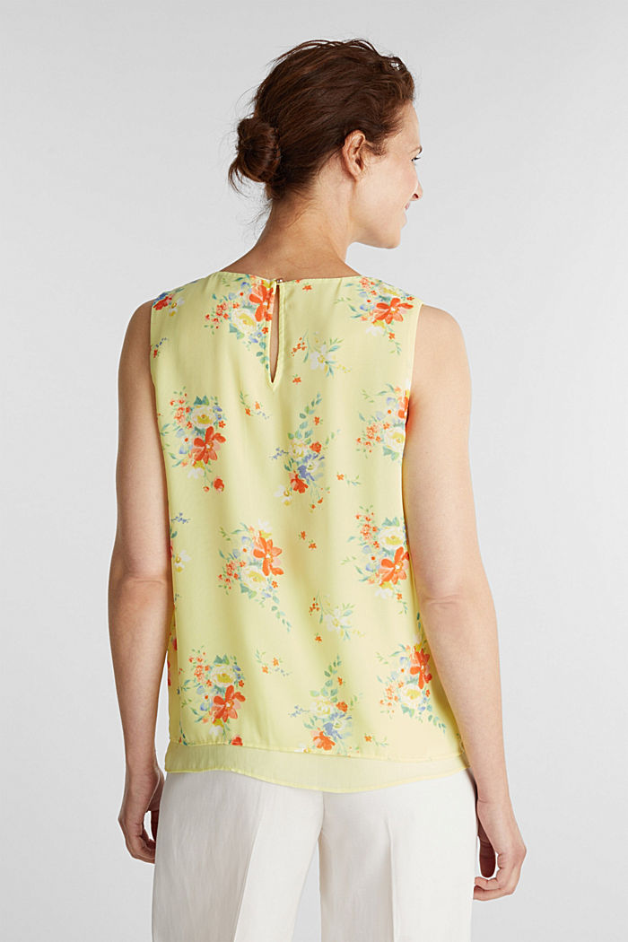 Layer-Blusentop aus Crêpe-Chiffon, LIME YELLOW, detail image number 3